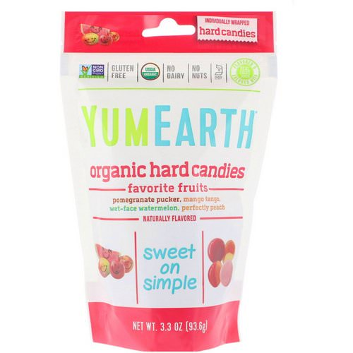 YumEarth, Organic Hard Candies, Favorite Fruits, 3.3 oz (93.6 g) فوائد