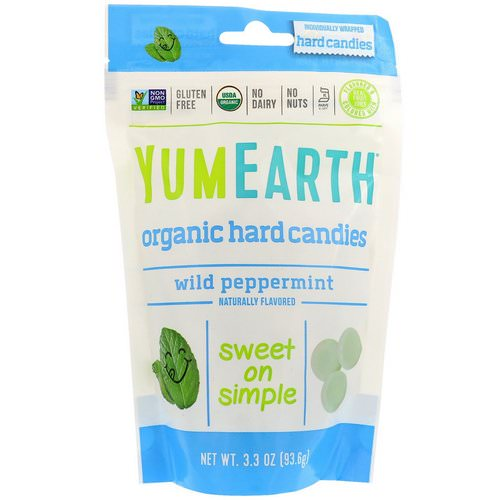 YumEarth, Organic Hard Candies, Wild Peppermint, 3.3 oz (93.6 g) فوائد