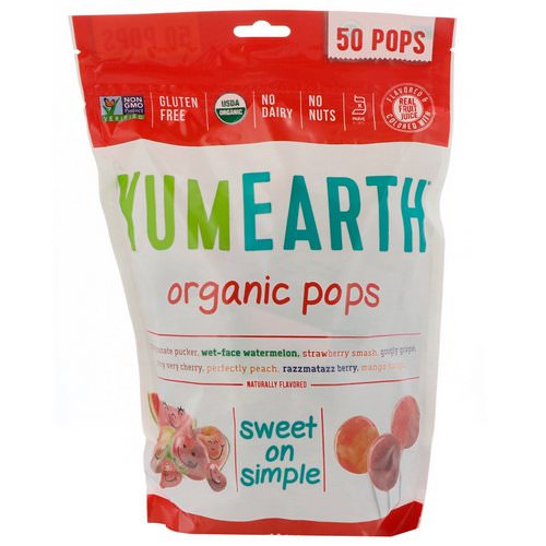 YumEarth, Organic Pops, Assorted Flavors, 50 Pops, 12.3 oz (348.7 g) فوائد
