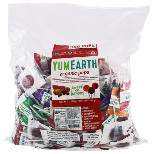 YumEarth, Organic Pops, Assorted Fruits Flavors, 300 Pops, 5 lbs (2268 g) فوائد