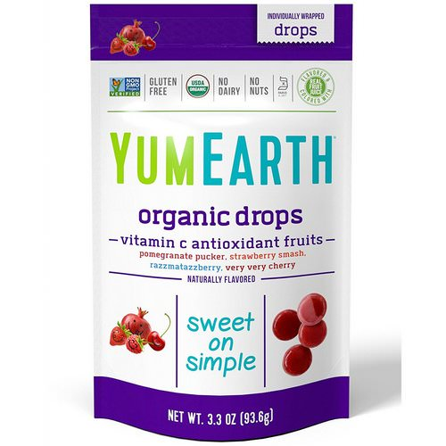 YumEarth, Organic Vitamin C Drops, Anti-Oxifruits, 3.3 oz (93.6 g) فوائد