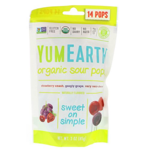 YumEarth, Organics, Sour Pops, Assorted Flavors, 14 Pops, 3 oz (85 g) فوائد