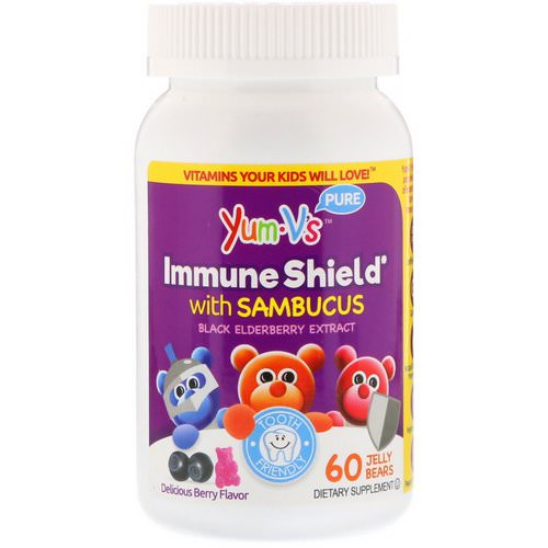 YumV's, Immune Shield With Sambucus, Yummy Berry Flavor, 60 Jelly Bears فوائد