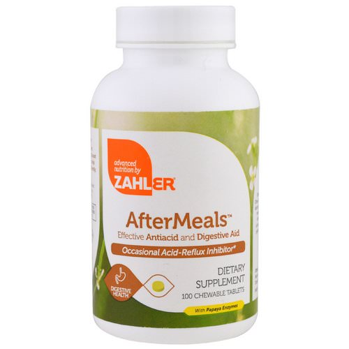 Zahler, AfterMeals, Effective Antiacid and Digestive Aid, 100 Chewable Tablets فوائد