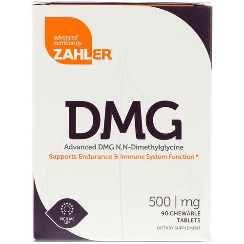 Zahler, DMG, Advanced DMG N, N-Dimethylglycine, 500 mg, 90 Chewable Tablets فوائد