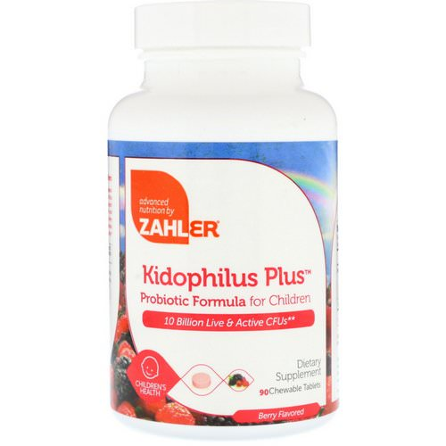 Zahler, Kidophilus Plus, Probiotic Formula For Children, Berry Flavored, 90 Chewable Tablets فوائد