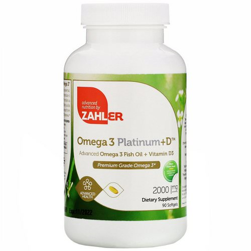 Zahler, Omega 3 Platinum+D, Advanced Omega 3 with Vitamin D3, 2,000 mg, 90 Softgels فوائد