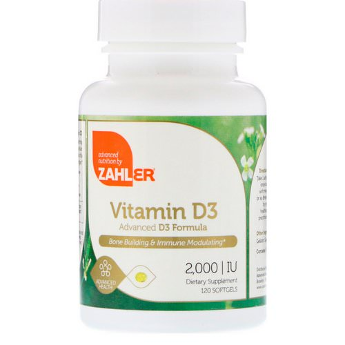 Zahler, Vitamin D3, Advanced D3 Formula, 2,000 IU, 120 Softgels فوائد