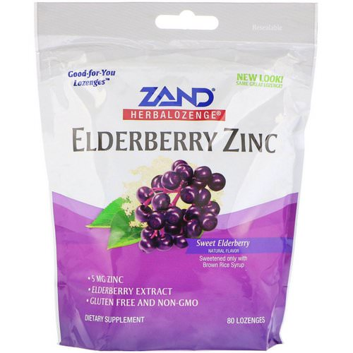 Zand, Herbalozenge, Elderberry Zinc, Sweet Elderberry, 80 Lozenges فوائد