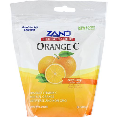 Zand, Herbalozenge, Orange C, Zesty Orange, 80 Lozenges فوائد