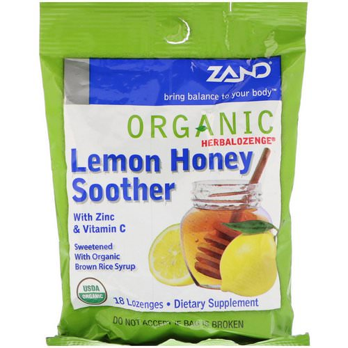 Zand, Organic Herbalozenge, Lemon Honey Soother, 18 Lozenges فوائد