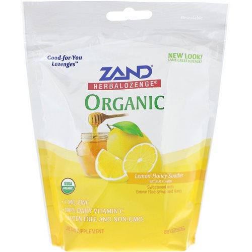 Zand, Organic Herbalozenge, Lemon Honey Soother, 80 Lozenges فوائد