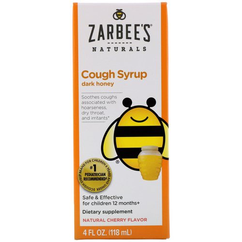 Zarbee's, Children's Cough Syrup with Dark Honey, Natural Cherry Flavor, 4 fl oz (118 ml) فوائد