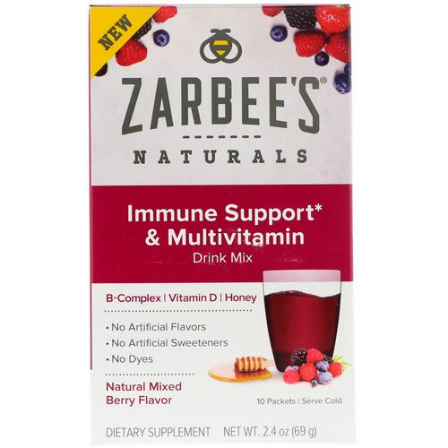 Zarbee's, Immune Support & Multivitamin Drink Mix with B-Complex, Vitamin D, Honey, Natural Mixed Berry Flavor, 10 Packets, 2.4 oz (69 g) فوائد