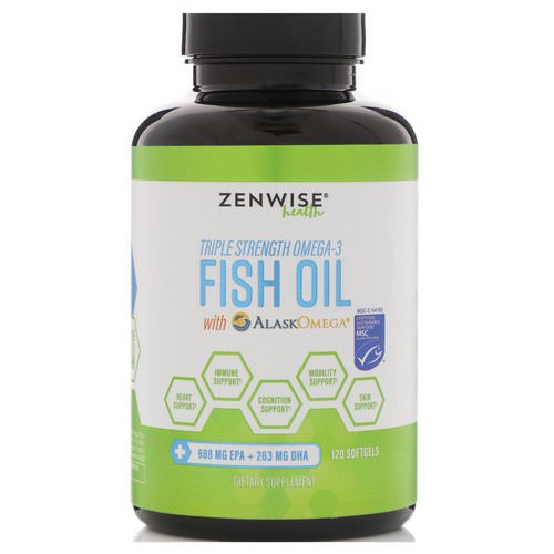 Zenwise Health, Triple Strength Omega-3 Fish Oil with AlaskOmega, 120 Softgels فوائد