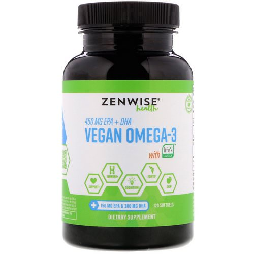 Zenwise Health, Vegan Omega-3 with Life's Omega, 120 Softgels فوائد