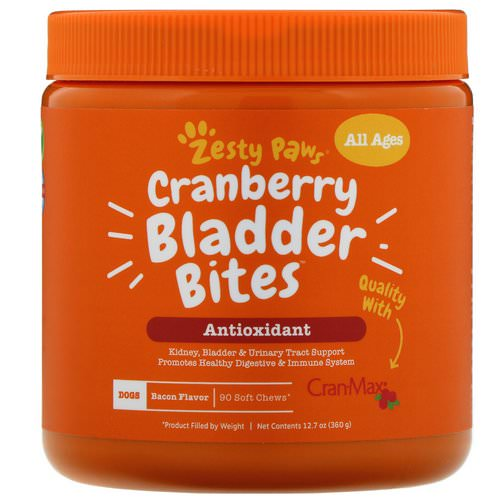 Zesty Paws, Cranberry Bladder Bites for Dogs, Antioxidant, All Ages, Bacon Flavor, 90 Soft Chews فوائد