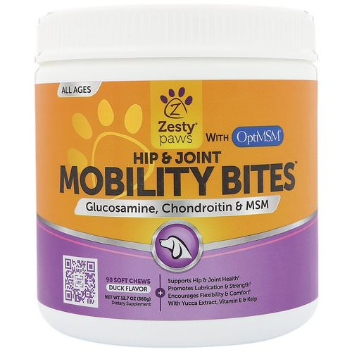 Zesty Paws, Mobility Bites for Dogs, Hip and Joint Support, All Ages, Duck Flavor, 90 Soft Chews فوائد