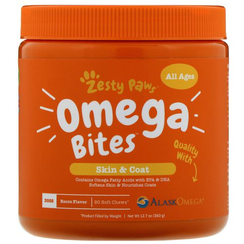 Zesty Paws, Omega Bites for Dogs, Skin & Coat, All Ages, Bacon Flavor, 90 Soft Chews فوائد