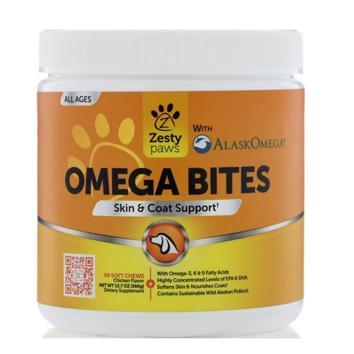 Zesty Paws, Omega Bites for Dogs, Skin & Coat Support, All Ages, Chicken Flavor, 90 Soft Chews فوائد
