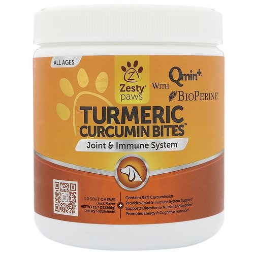 Zesty Paws, Turmeric, Curcumin Bites For Dogs, Joint & Immune Support, All Ages, Duck Flavor, 90 Soft Chews فوائد