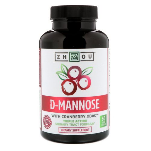 Zhou Nutrition, D-Mannose with Cranberry Xbac, 60 Vegetarian Capsules فوائد