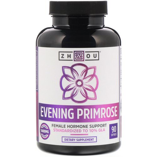 Zhou Nutrition, Evening Primrose, Female Hormone Support, 1400 mg, 90 Softgels فوائد