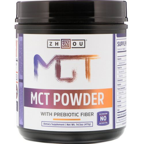 Zhou Nutrition, MCT Powder with Prebiotic Fiber, 14.5 oz (411 g) فوائد