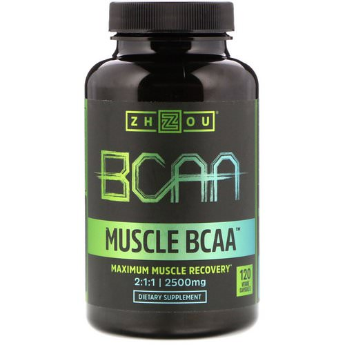 Zhou Nutrition, Muscle BCAA, Maximum Muscle Recovery, 2500 mg, 120 Veggie Capsules فوائد