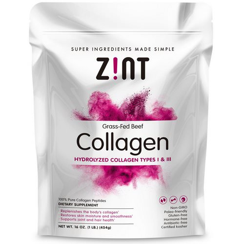Zint, Grass-Fed Beef Collagen, Hydrolyzed Collagen Types I & III, 16 oz (454 g) فوائد