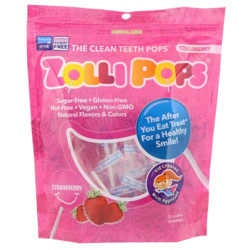 Zollipops, The Clean Teeth Pops, Strawberry, 15 ZolliPops, (3.1 oz) فوائد